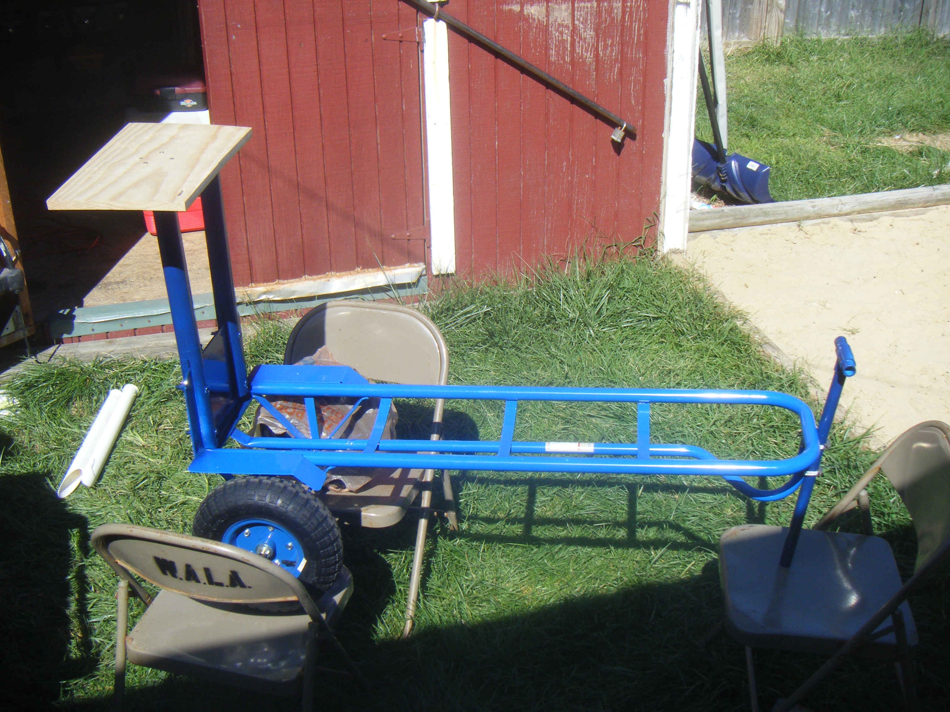 My 1st surf fishing cart what do you guys think for Surf fishing cart