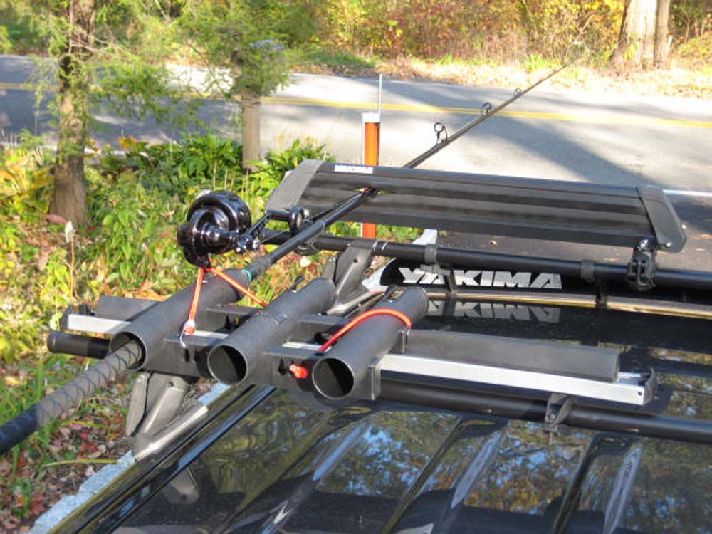 Diy fishing rod holders or racks do it yourself surftalk for Roof rack fishing pole holder