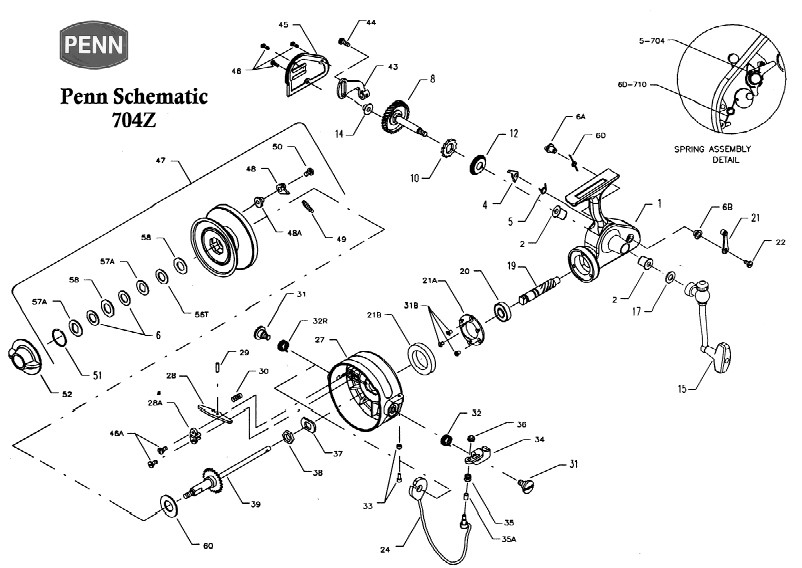 schematic for a penn 704 - tackle collectors
