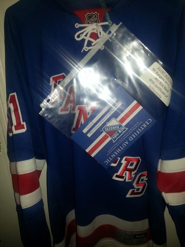 Rangers Nash Autographed jersey