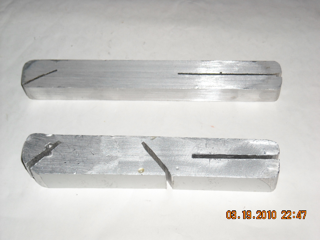 lip bending tools I made from aluminum 1x1 bar stock.