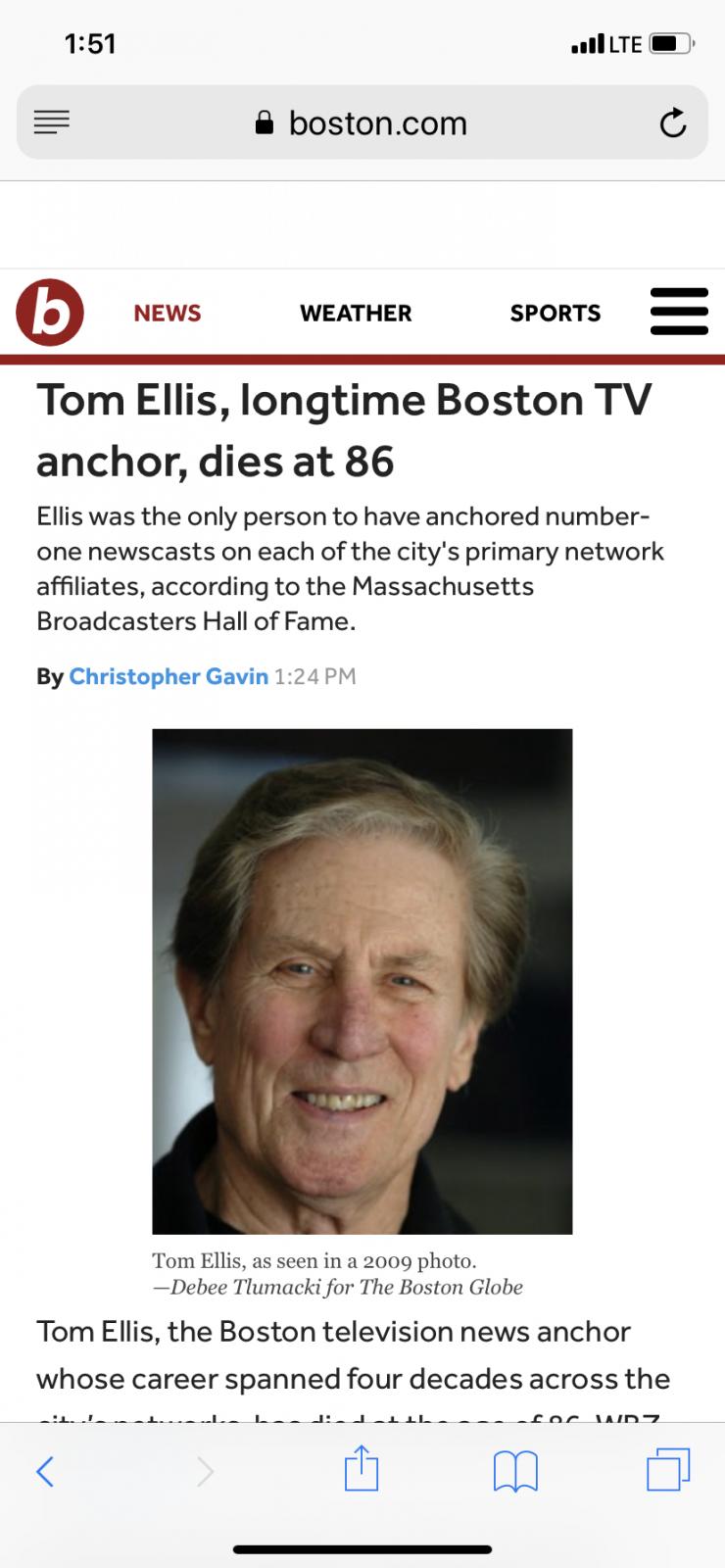 Tom Ellis Boston New York News Anchor will not be down for
